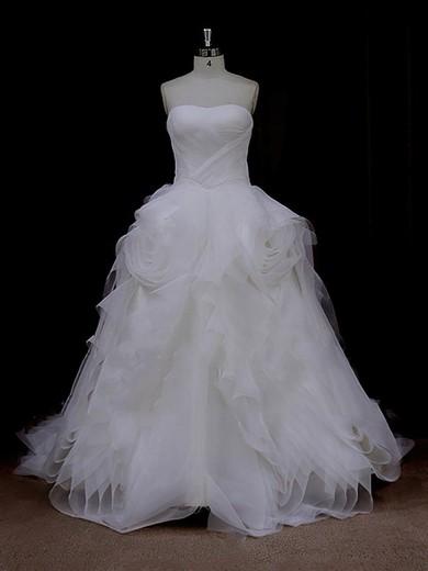 Ivory Princess Tulle Ruffles Lace-up Ladies Sweetheart Wedding Dresses #DOB00022095