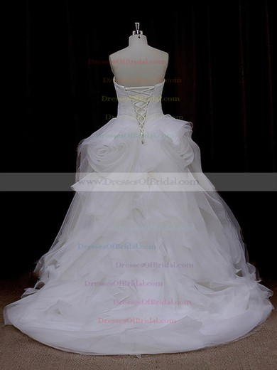 Ivory Princess Tulle Ruffles Lace-up Ladies Sweetheart Wedding Dresses #DOB00022095
