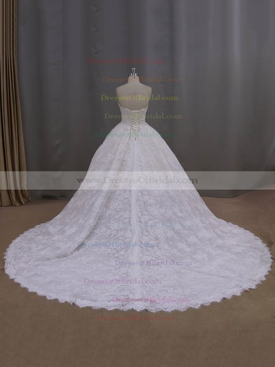 Wholesale Cathedral Train Ivory Lace Appliques Ball Gown Wedding Dresses #DOB00022096