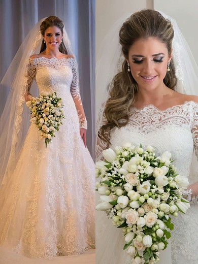 Online Lace Tulle Sequins Sweep Train Long Sleeve Off-the-shoulder Wedding Dresses #DOB00022499