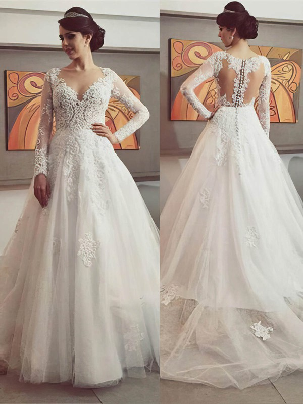 Princess Tulle with Appliques Lace Court Train Long Sleeve Designer Wedding Dresses #DOB00022500
