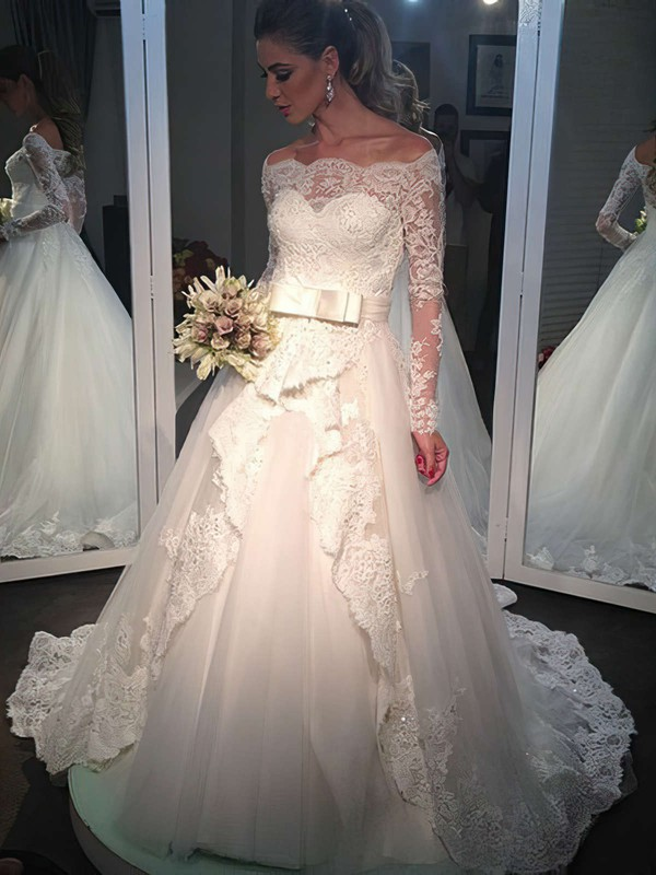 Princess Off-the-shoulder Modest Tulle Appliques Lace Long Sleeve Wedding Dresses #DOB00022502