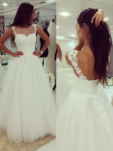 Scoop Neck Tulle Appliques Lace Floor-length Lace-up White Wedding Dress #DOB00022503
