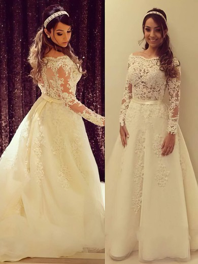 A-line Off-the-shoulder Tulle Appliques Lace Perfect Long Sleeve Wedding Dress #DOB00022504