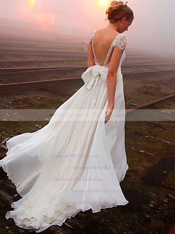 Latest V-neck Chiffon Sweep Train with Beading Open Back Wedding Dress #DOB00022505