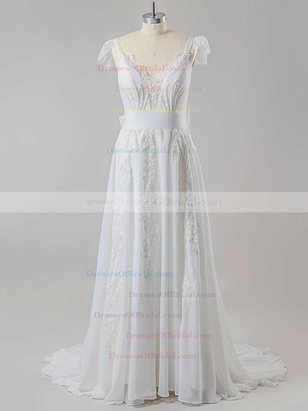 Latest V-neck Chiffon Sweep Train with Beading Open Back Wedding Dress #DOB00022505