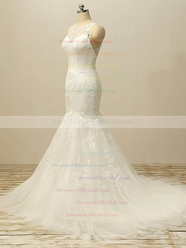 White Scoop Neck Tulle Appliques Lace Designer Trumpet/Mermaid Wedding Dresses #DOB00022506