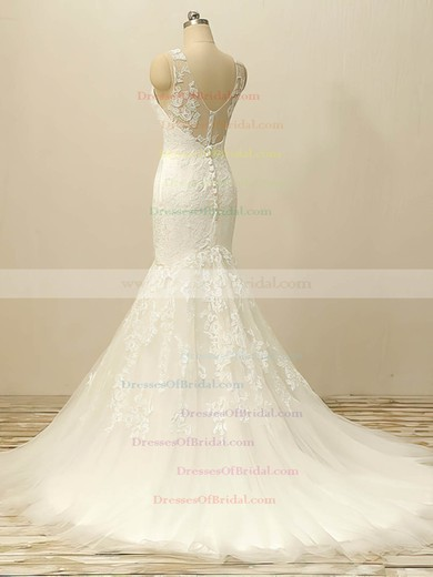 White Scoop Neck Tulle Appliques Lace Designer Trumpet/Mermaid Wedding Dresses #DOB00022506