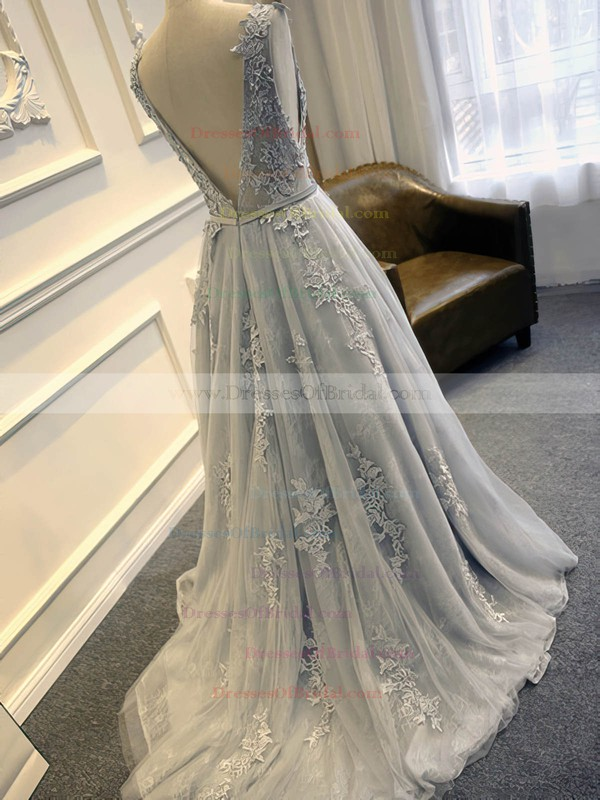 Elegant Scoop Neck Tulle Sweep Train Appliques Lace Open Back Wedding Dresses #DOB00022507