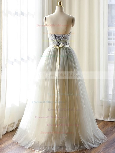 Sweetheart Tulle with Sashes / Ribbons Floor-length Modest Wedding Dresses #DOB00022508