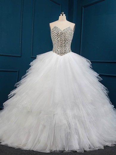 Unique Chapel Train White Tulle with Crystal Detailing Ball Gown Wedding Dresses #DOB00022509