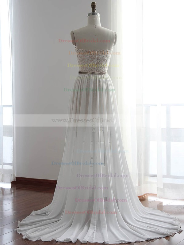 White Chiffon with Lace Pretty Sheath/Column Detachable Wedding Dresses #DOB00022510