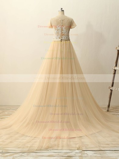 Champagne Tulle Appliques Lace Court Train Classy Short Sleeve Wedding Dresses #DOB00022511