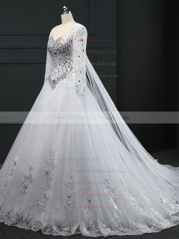 Expensive Ball Gown Tulle Crystal Detailing Chapel Train Long Sleeve Wedding Dresses #DOB00022512