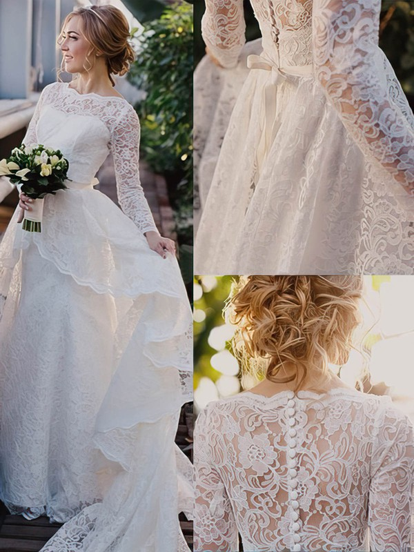 Scalloped Neck Lace Sashes / Ribbons Sweep Train Long Sleeve Perfect Wedding Dresses #DOB00022513