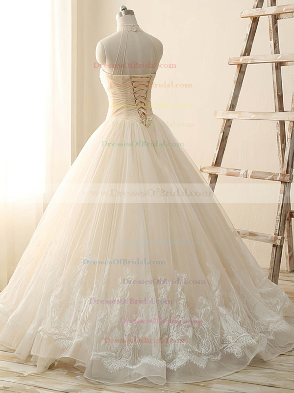 Different Ivory Tulle with Beading Ball Gown High Neck Wedding Dress #DOB00022514