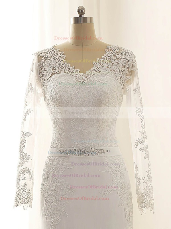 Discount V-neck Chiffon Appliques Lace Trumpet/Mermaid Long Sleeve Wedding Dress #DOB00022515