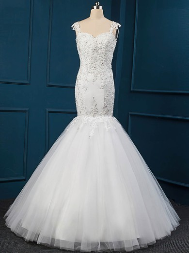 Trumpet/Mermaid Sweep Train White Tulle Appliques Lace Latest Wedding Dress #DOB00022516