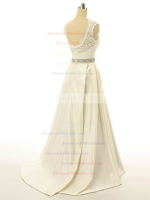 Scoop Neck Elastic Woven Satin Lace Sashes / Ribbons Sweep Train Open Back New Wedding Dress #DOB00022517