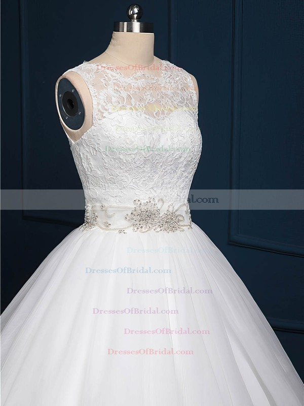 Ball Gown Tulle Lace Sashes / Ribbons Sweep Train Popular White Wedding Dress #DOB00022518