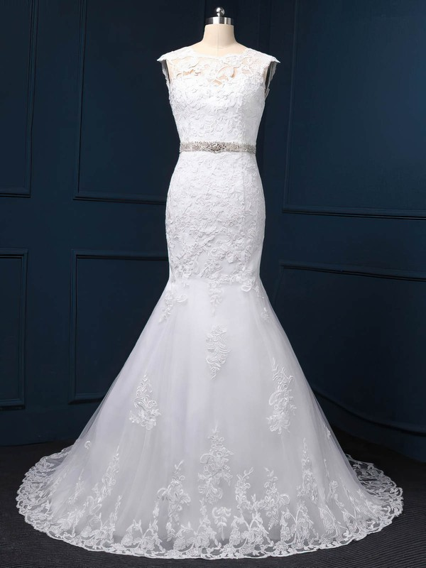 Exclusive White Tulle Appliques Lace Scoop Neck Trumpet/Mermaid Wedding Dress #DOB00022519