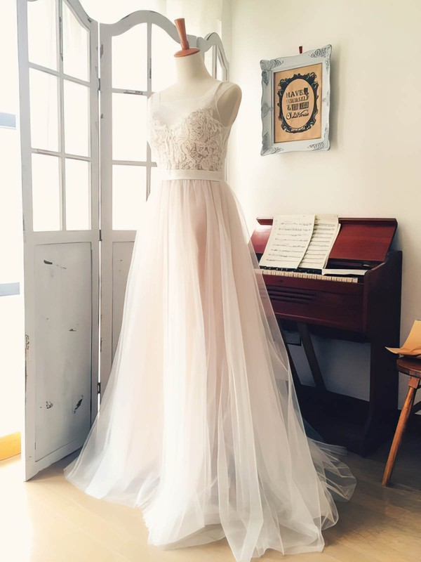 Scoop Neck Tulle with Appliques Lace Sweep Train Boutique Wedding Dress #DOB00022521