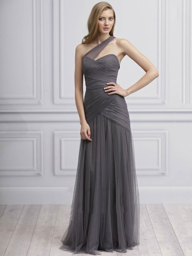 Backless Sheath/Column Tulle Ruffles Classy One Shoulder Bridesmaid Dresses #DOB01012725