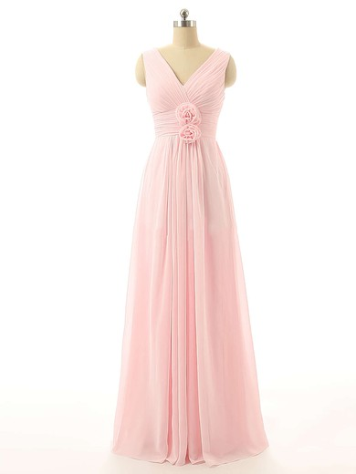 Online V-neck Pink Chiffon with Flower(s) Floor-length Bridesmaid Dresses #DOB01012726