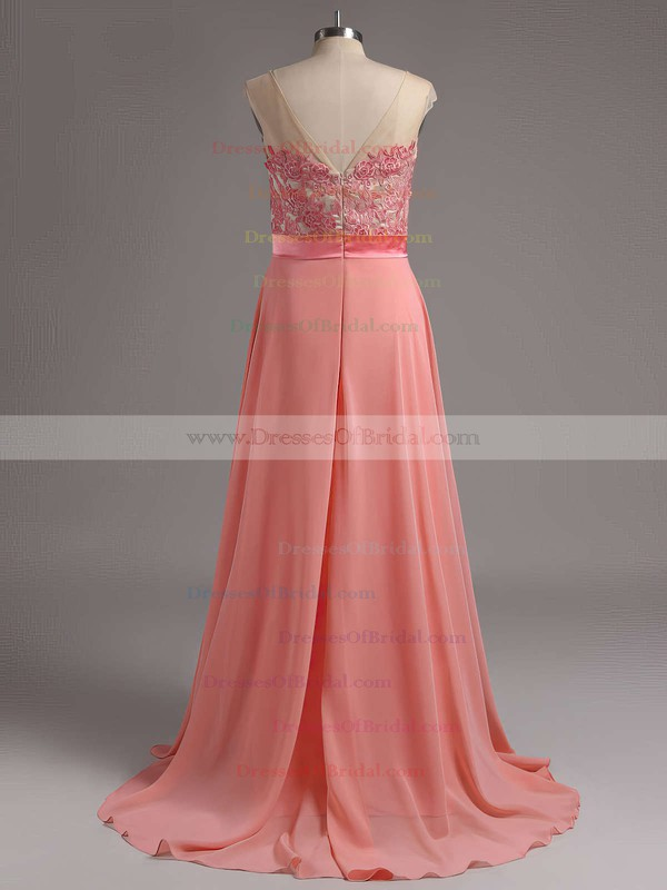 Elegant Scoop Neck Chiffon Appliques Lace Sweep Train Long Bridesmaid Dresses #DOB01012728