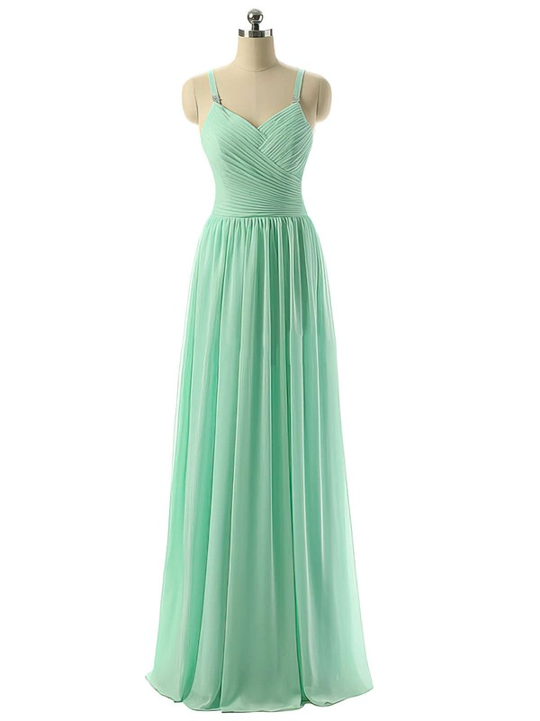 V-neck Sage Chiffon Ruched Floor-length Modest Bridesmaid Dresses #DOB01012729