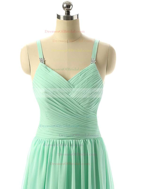 V-neck Sage Chiffon Ruched Floor-length Modest Bridesmaid Dresses #DOB01012729