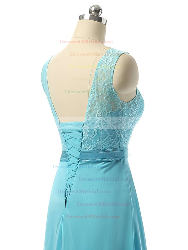 Pretty A-line Scoop Neck Chiffon with Lace Blue Long Bridesmaid Dresses #DOB01012730