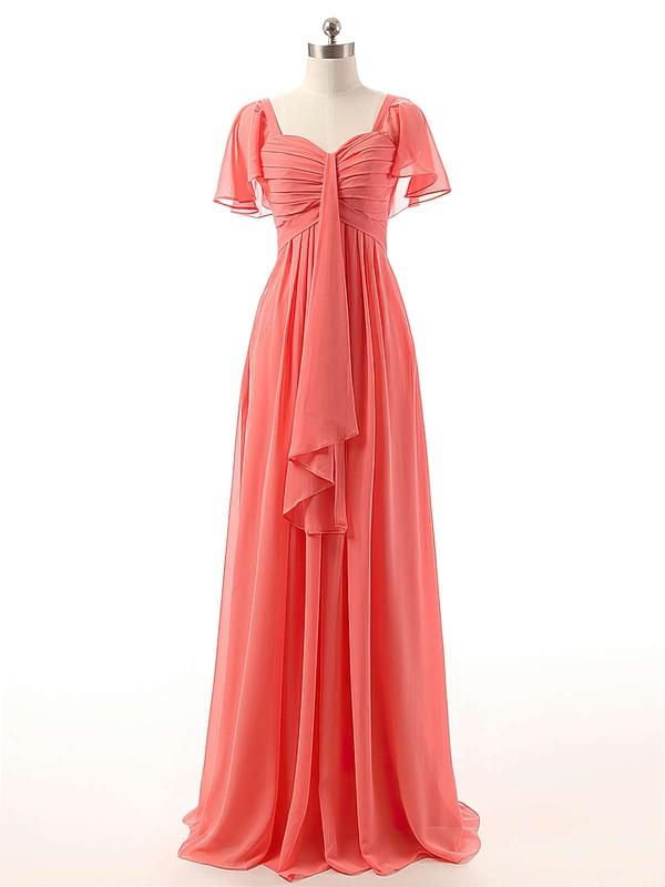 Watermelon Sweetheart Chiffon Ruffles Affordable Short Sleeve Bridesmaid Dresses #DOB01012732