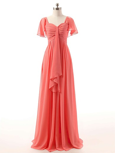 Watermelon Sweetheart Chiffon Ruffles Affordable Short Sleeve Bridesmaid Dresses #DOB01012732