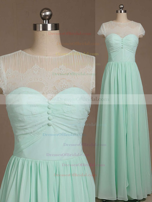 Inexpensive Floor-length Scoop Neck Chiffon Lace with Bow Short Sleeve Bridesmaid Dresses #DOB01012733