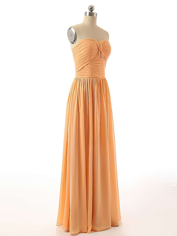 Floor-length Sweetheart Ruched Chiffon Elegant Bridesmaid Dresses #DOB01012736
