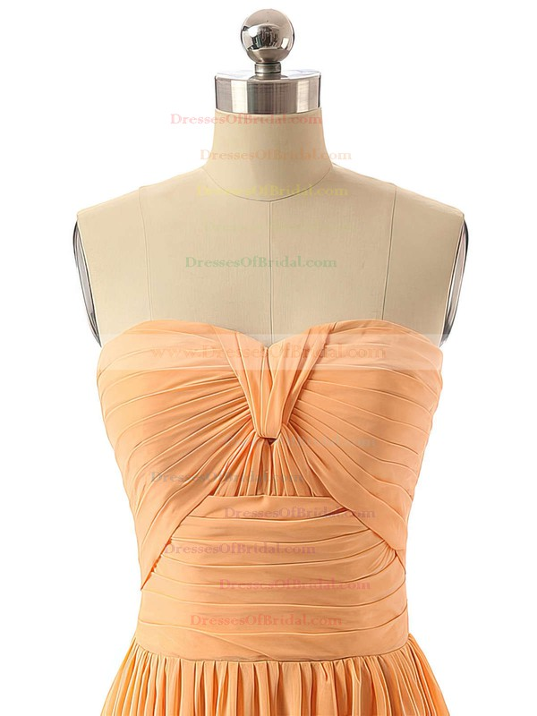 Floor-length Sweetheart Ruched Chiffon Elegant Bridesmaid Dresses #DOB01012736