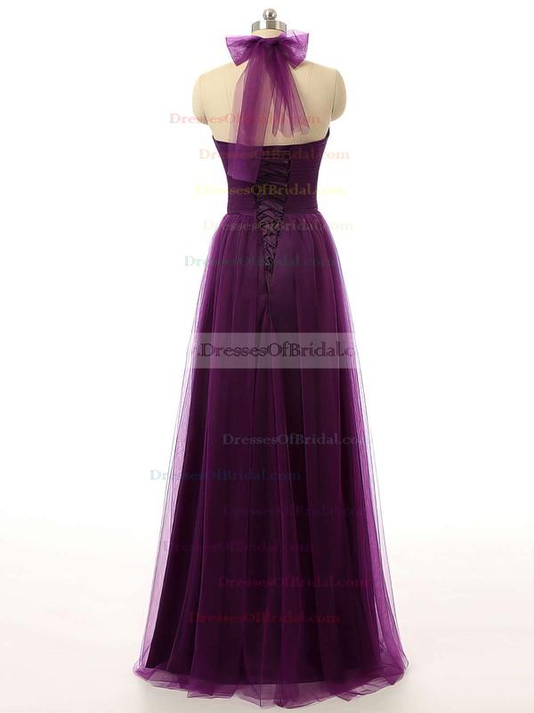 Modest Tulle Ruffles Purple Floor-length Halter Bridesmaid Dresses #DOB01012737