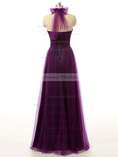 Modest Tulle Ruffles Purple Floor-length Halter Bridesmaid Dresses #DOB01012737
