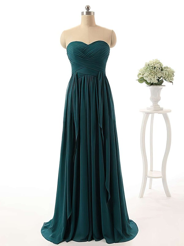 Affordable Sweetheart Chiffon with Ruffles Sweep Train Bridesmaid Dresses #DOB01012738