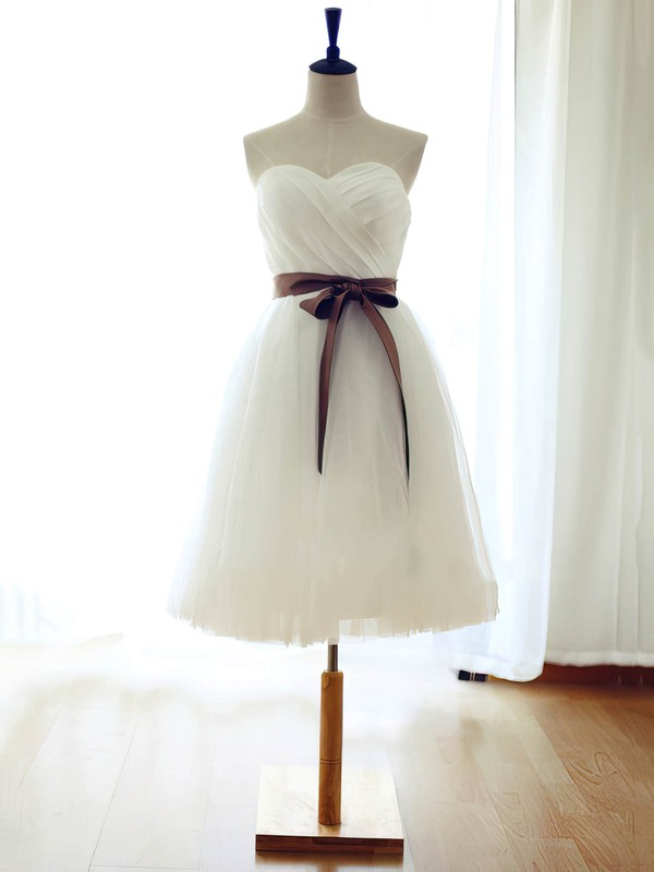 White Sweetheart Tulle Sashes / Ribbons Girls Knee-length Bridesmaid Dress #DOB01012739