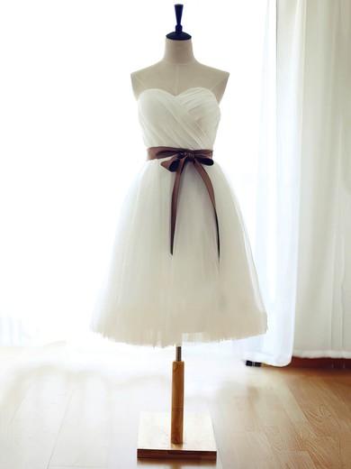 White Sweetheart Tulle Sashes / Ribbons Girls Knee-length Bridesmaid Dress #DOB01012739