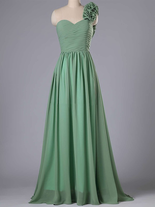 One Shoulder Chiffon Flower(s) Sweep Train Inexpensive Bridesmaid Dress #DOB01012740