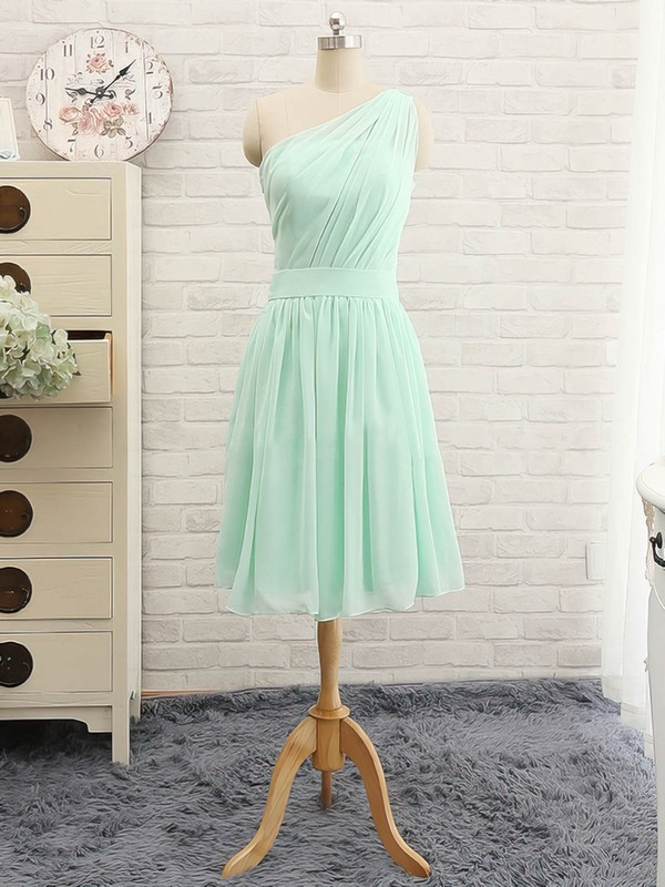Simple Knee-length Sage Chiffon with Ruffles One Shoulder Bridesmaid Dress #DOB01012741