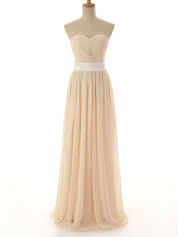 Promotion A-line Chiffon Criss Cross Sweetheart Long Bridesmaid Dress #DOB01012742