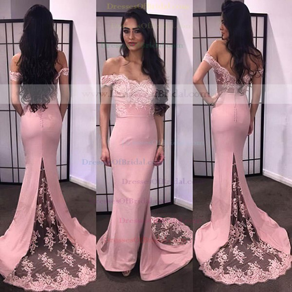 Trumpet/Mermaid Off-the-shoulder Lace Satin Appliques Lace Sexy Bridesmaid Dresses #DOB01012743