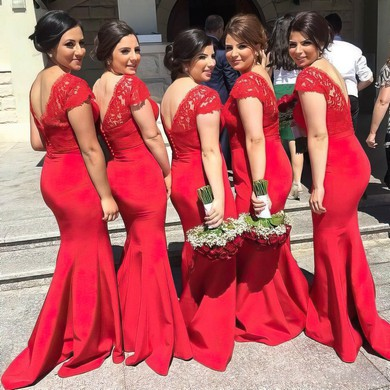Unique Trumpet/Mermaid V-neck Silk-like Satin Appliques Lace Red Bridesmaid Dresses #DOB01012744