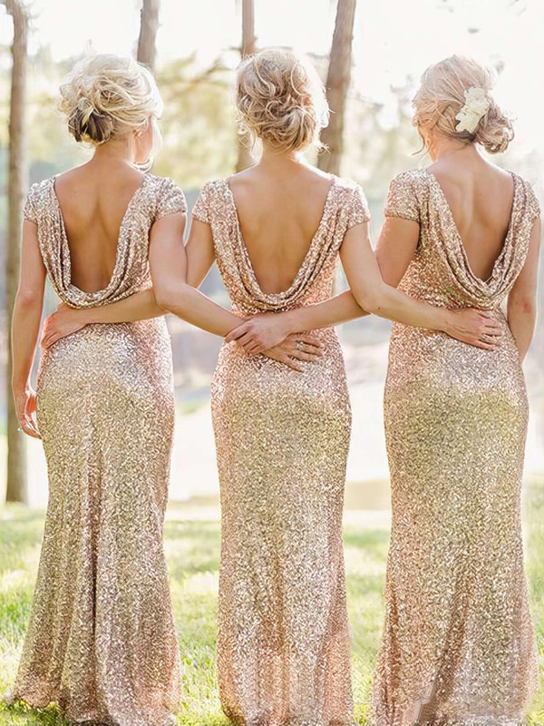 Sheath/Column Scoop Neck Sequined Ruffles Short Sleeve Bridesmaid Dresses #DOB01012746