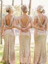 Sheath/Column Scoop Neck Sequined Ruffles Short Sleeve Bridesmaid Dresses #DOB01012746