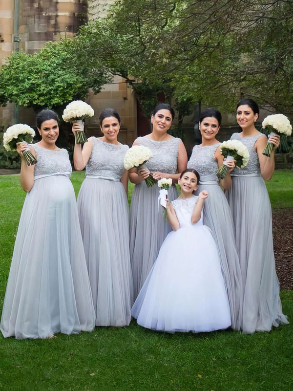Scoop Neck Tulle Floor-length with Beading Affordable Bridesmaid Dresses #DOB01012747